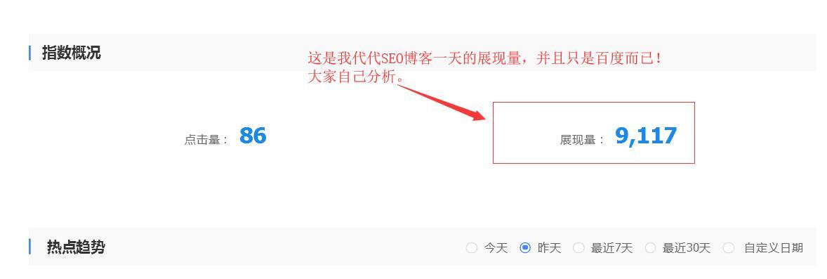 代代seo网站展现量!